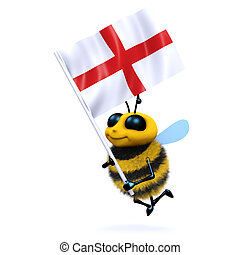 3d Bee with the flag of St George - 3d render of a bee...