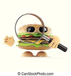 3d, beefburger, aussehen, durch, a, vergrößerungsglas