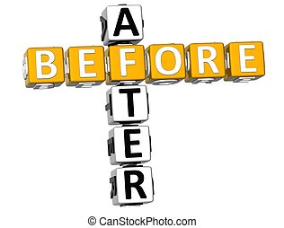 3D Before After Crossword on white background