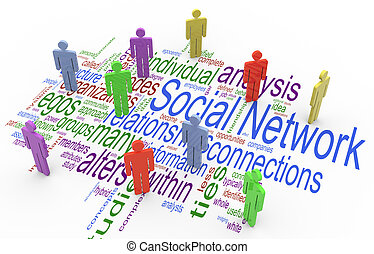 3d, begriff, vernetzung, sozial