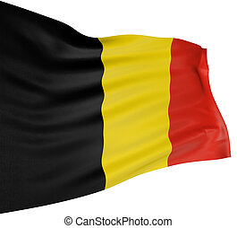 3D Belgian flag with fabric surface texture. White background.