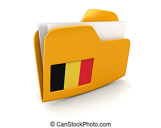 3D Belgian flag with fabric surface texture. White ...