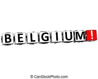 3D Belgium Button Click Here Block Text
