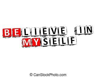 3D Believe in Myself text