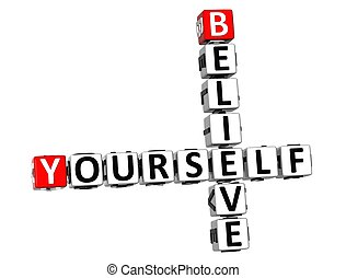 3D Believe Yourself Crossword on white background
