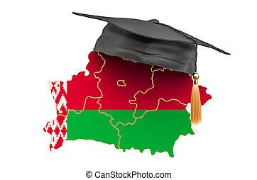 3d, belorussian, diplomado gorra, mapa, belarus, interpretación, educación, concept.