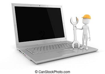 3d, bemannen computer, verwalter