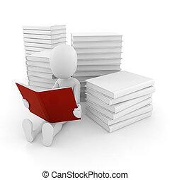 3d, bemannen lees, een, boek, op wit, achtergrond