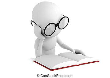 3d, bemannen lees, een, boek