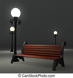3d bench near the street lamppost on grey