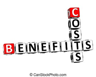 3D Benefits Costs Crossword on white background
