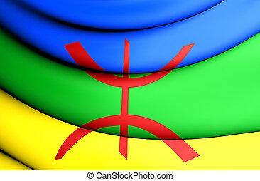 Berber Flag - 3D Berber Flag. Close Up. Front View.