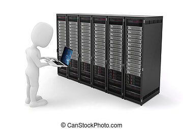 3d, besetzen laptop, und, server, computer