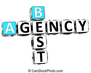 3D Best Agency Crossword on white background