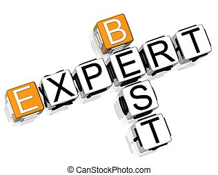 Best Expert Crossword - 3D Best Expert Crossword on white...