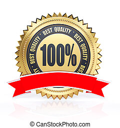 3d best quality golden label with red ribbon isolated on...