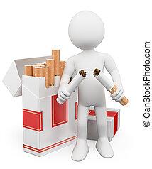3d, biały, ludzie., żadno palenie