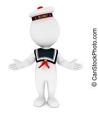 3d, biały, ludzie, marynarz