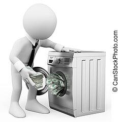 3d, biały, ludzie., pieniądze pralnictwo, concept., handlowa...