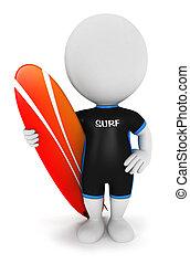 3d, biały, ludzie, surfer