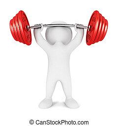 3d, biały, ludzie, weightlifting