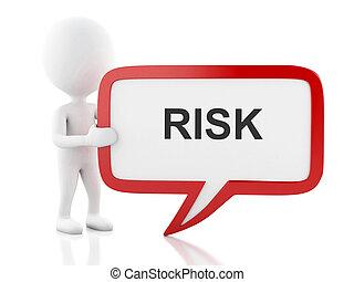 3d, biały, ludzie, z, bańka mowy, że, mówi, risk.