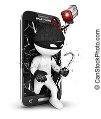 3d, biały, smartphone, bezpieczeństwo, ludzie