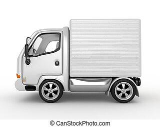 3d, bianco, furgone, isolato