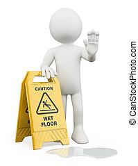 3d, bianco, persone., avverta pavimento bagnato