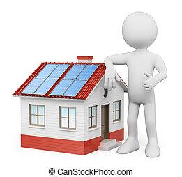 3d, bianco, persone., casa, con, solare, pannelli
