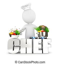 3d, bianco, persone, chef