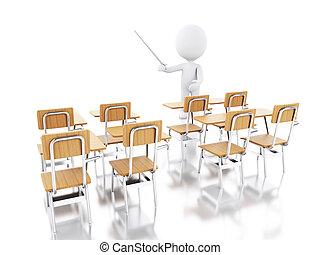 3d, bianco, persone, con, scuola, chairs.