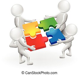 3d, bianco, persone equipaggiano, con, puzzle, soluzione