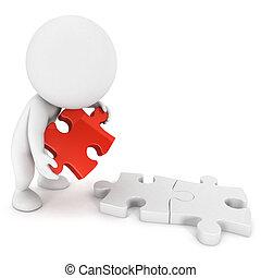 3d, bianco, persone, fare, puzzle