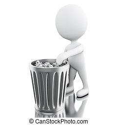 3d, bianco, persone, lancio, trash.