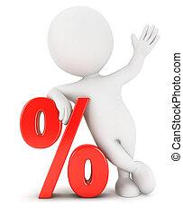 3d, bianco, persone, percento