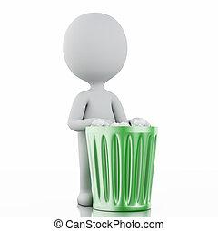 3d, bianco, persone, riciclare, rifiuti, can.