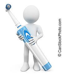 3d, bianco, persone., spazzolino denti elettrico