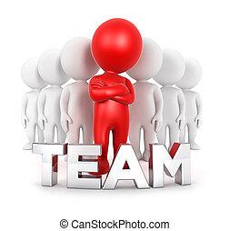 3d, bianco, persone, squadra, con, uno, condottiero