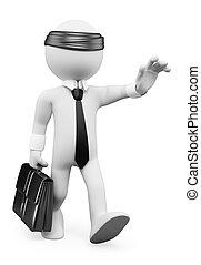 3d, bianco, persone., uomo affari, camminare, blindly., metafora affari