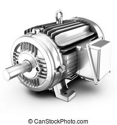 3d big electric motor on white background