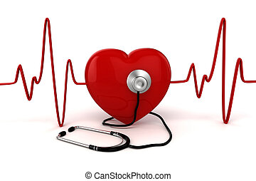 3d big red heart health and medicine concept