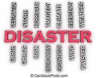 3d, bild, katastrophe, ausgaben, begriff, wort, wolke,...