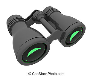 3d binocular concept. rendered illustration