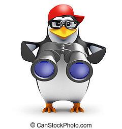 3d Binoculars penguin