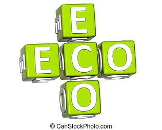 3D Bio Eco Text on white background