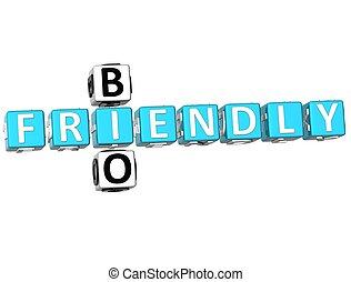 3D Bio Frendly Crossword on white background