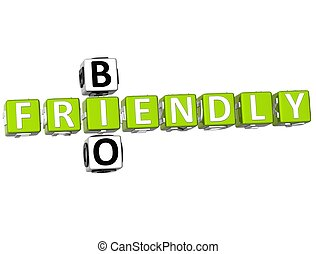 3D Bio Frendly Crossword on white background