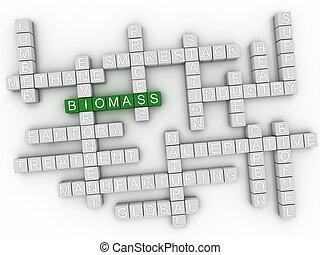 3d, biomass, concepto, palabra, nube