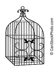 Illustration of a 3D wire bird cage in black.